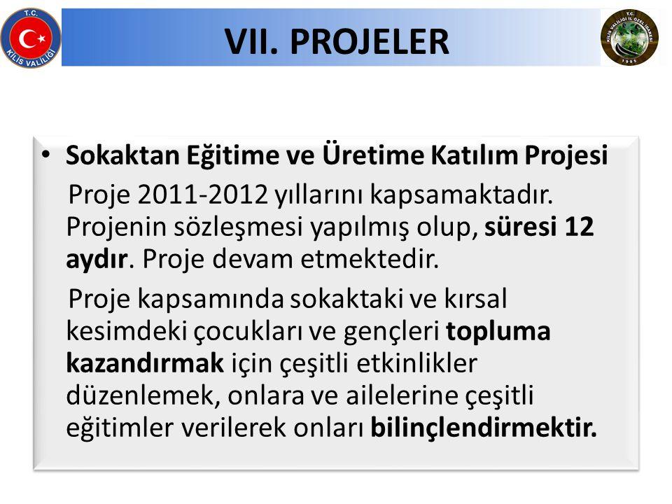 Sokaktan Eğitime ve Üretime Katılım Projesi Proje 2011-2012 yıllarını kapsamaktadır. Projenin sözleşmesi yapılmış olup, süresi 12 aydır. Proje devam e