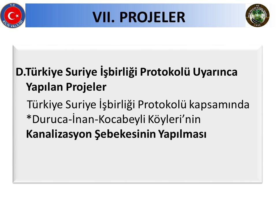 D.Türkiye Suriye İşbirliği Protokolü Uyarınca Yapılan Projeler Türkiye Suriye İşbirliği Protokolü kapsamında *Duruca-İnan-Kocabeyli Köyleri'nin Kanali