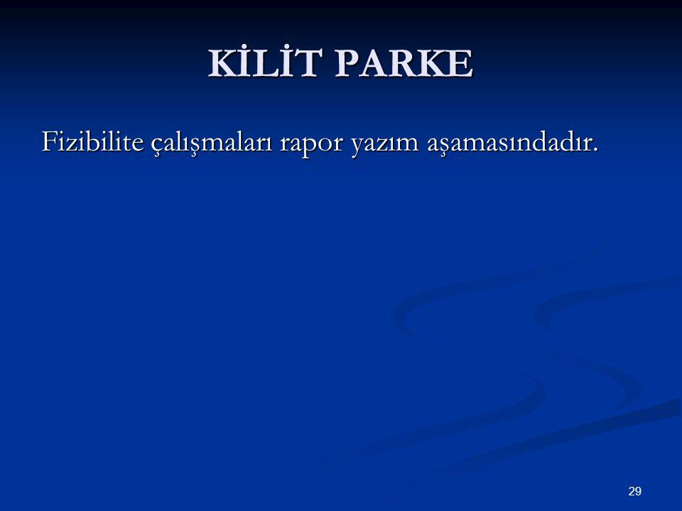 KİLİT PARKE Fizibilite çalışmaları rapor yazım aşamasındadır. 29