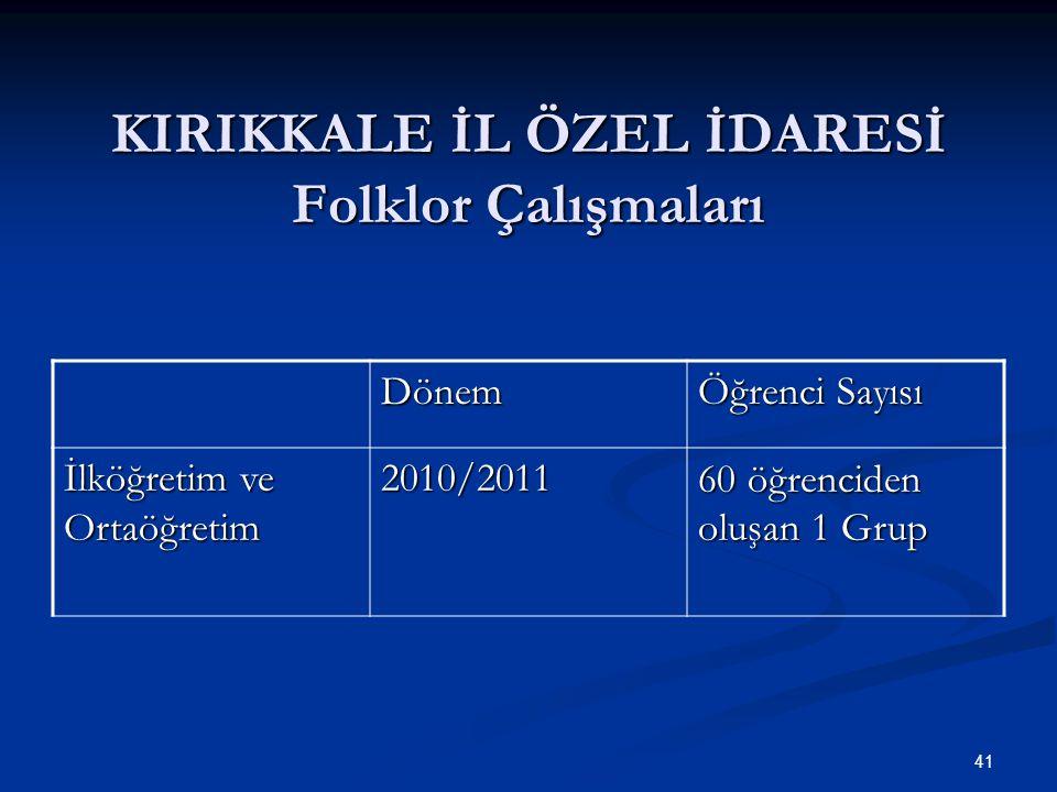 KIRIKKALE İL ÖZEL İDARESİ Folklor Çalışmaları Dönem Öğrenci Sayısı İlköğretim ve Ortaöğretim 2010/2011 60 öğrenciden oluşan 1 Grup 41