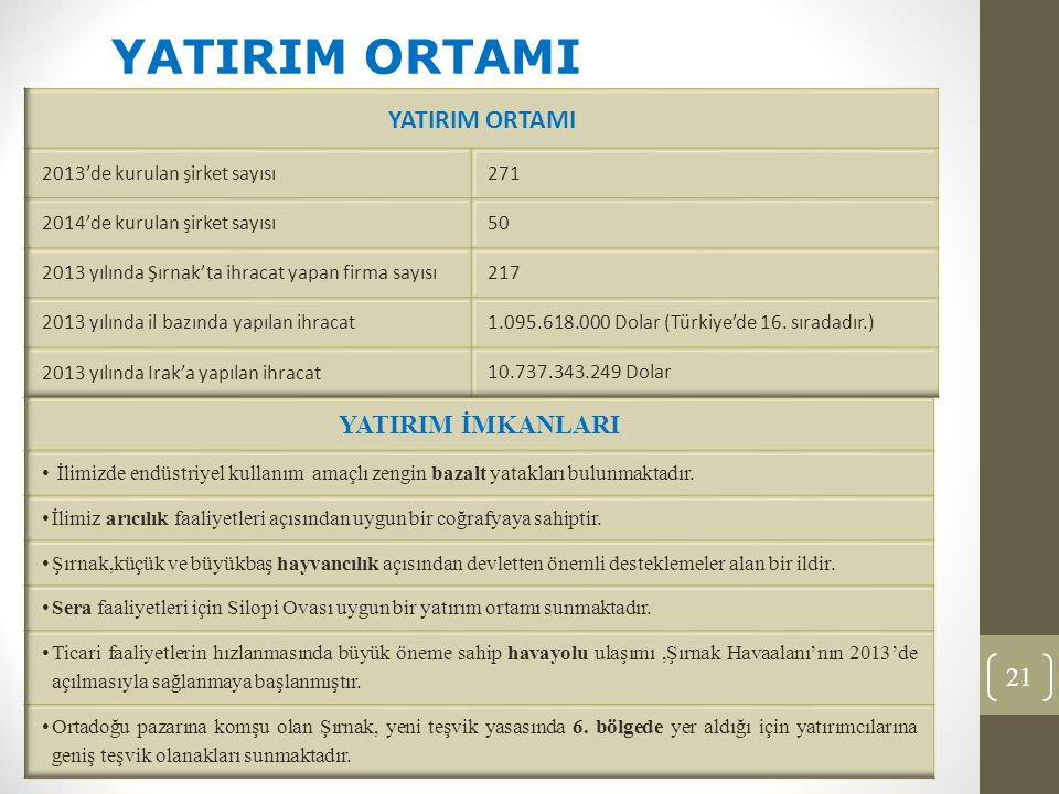 21 YATIRIM ORTAMI