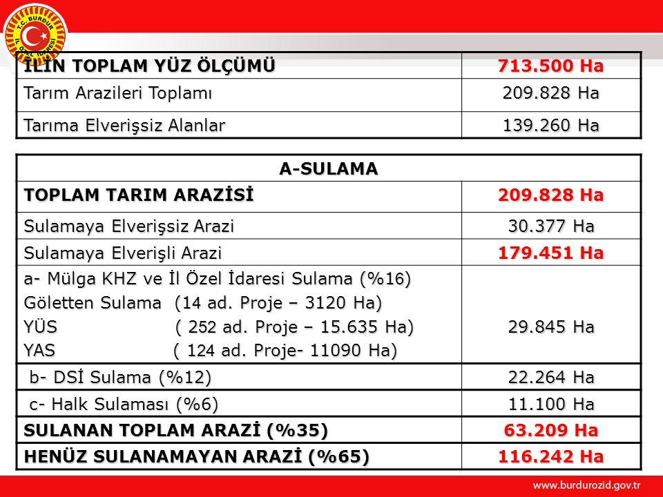 İLİN TOPLAM YÜZ ÖLÇÜMÜ 713.500 Ha Tarım Arazileri Toplamı 209.828 Ha Tarıma Elverişsiz Alanlar 139.260 Ha A-SULAMA TOPLAM TARIM ARAZİSİ 209.828 Ha Sul