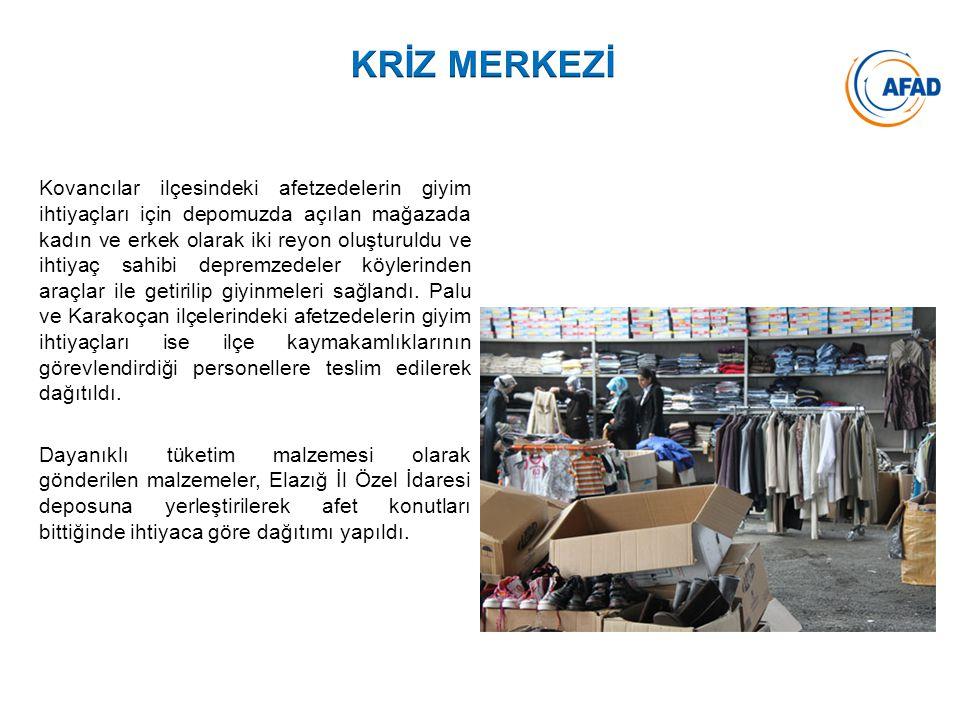 Kovancılar ilçesindeki afetzedelerin giyim ihtiyaçları için depomuzda açılan mağazada kadın ve erkek olarak iki reyon oluşturuldu ve ihtiyaç sahibi de