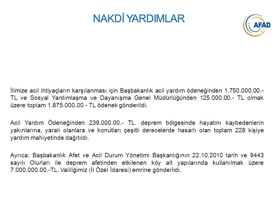 İlimize acil ihtiyaçların karşılanması için Başbakanlık acil yardım ödeneğinden 1.750.000.00.- TL ve Sosyal Yardımlaşma ve Dayanışma Genel Müdürlüğünd