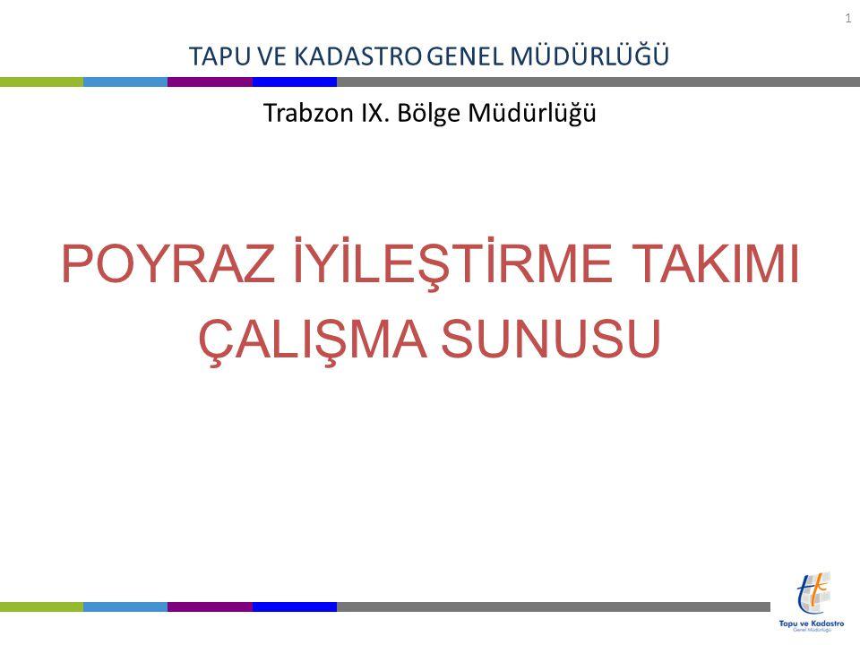 TAPU VE KADASTRO GENEL MÜDÜRLÜĞÜ 2 Çalışmanın Yapıldığı Bölge Müdürlüğü : TKGM Trabzon IX.