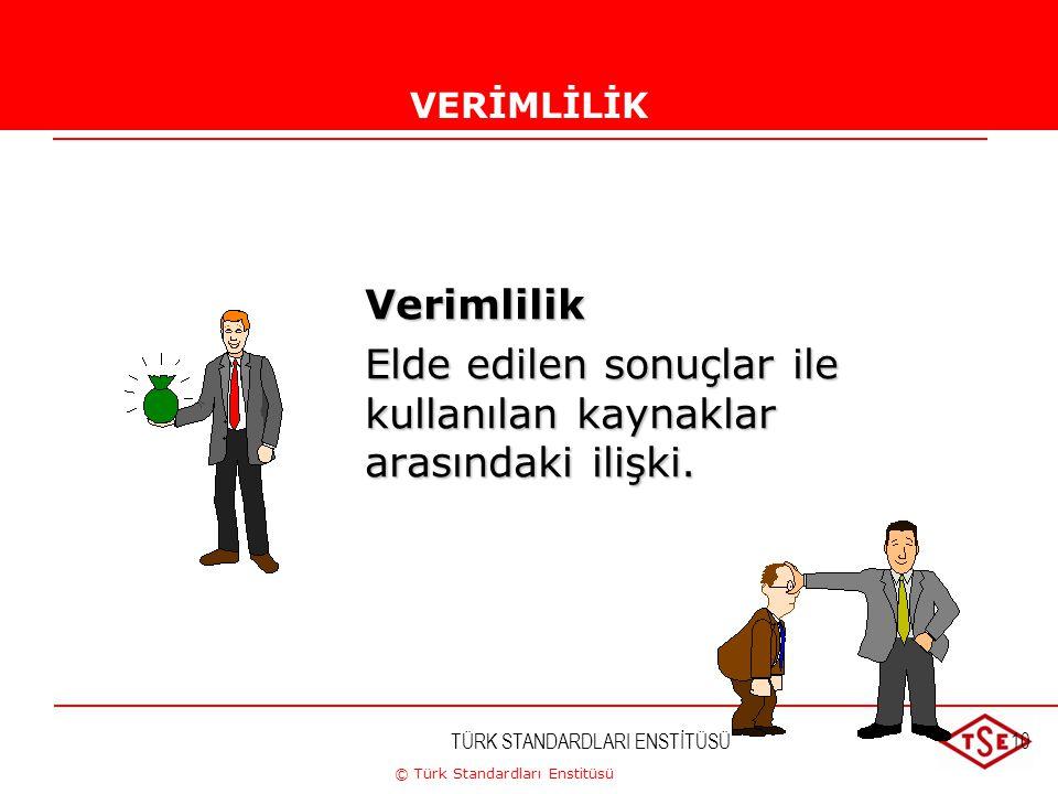 © Türk Standardları Enstitüsü TÜRK STANDARDLARI ENSTİTÜSÜ10VERİMLİLİKVERİMLİLİKVerimlilik Elde edilen sonuçlar ile kullanılan kaynaklar arasındaki ili