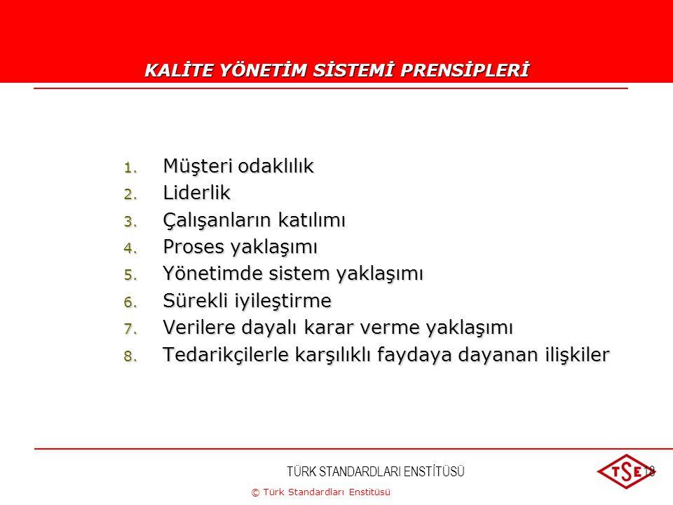 © Türk Standardları Enstitüsü TÜRK STANDARDLARI ENSTİTÜSÜ18 Kalite Yönetim Prensipleri 1. Müşteri odaklılık 2. Liderlik 3. Çalışanların katılımı 4. Pr