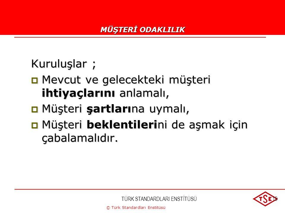 © Türk Standardları Enstitüsü TÜRK STANDARDLARI ENSTİTÜSÜ19 1-MÜŞTERİ ODAKLILIK Kuruluşlar ;  Mevcut ve gelecekteki müşteri ihtiyaçlarını anlamalı, 