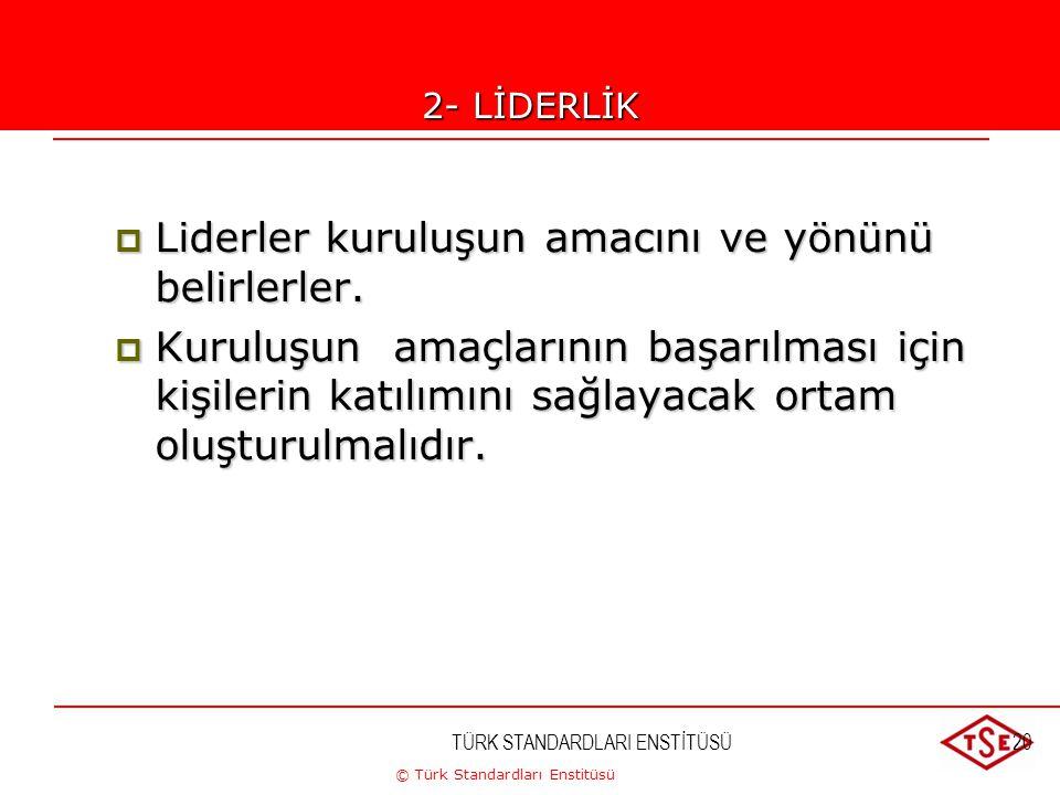 © Türk Standardları Enstitüsü TÜRK STANDARDLARI ENSTİTÜSÜ20 2-LİDERLİK  Liderler kuruluşun amacını ve yönünü belirlerler.  Kuruluşun amaçlarının baş