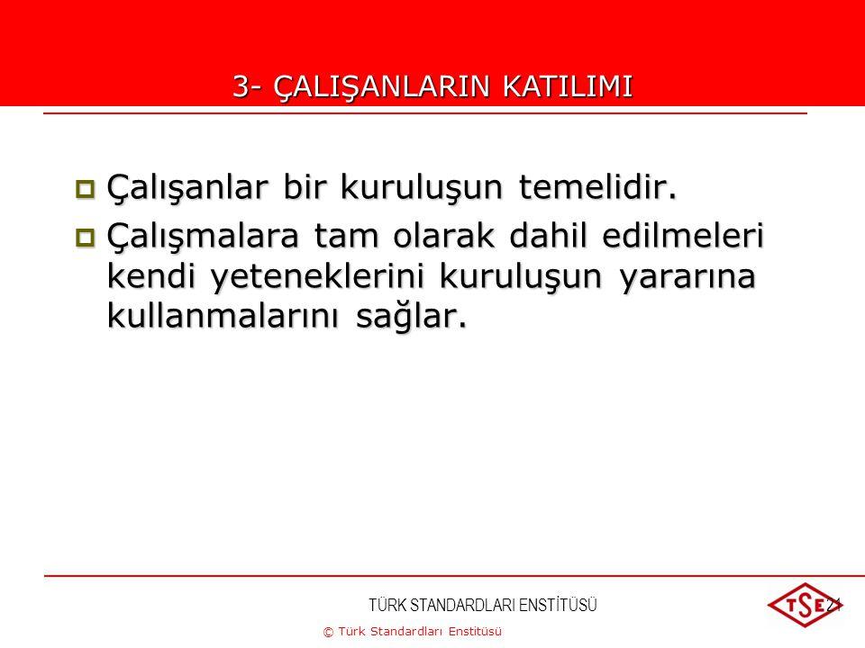 © Türk Standardları Enstitüsü TÜRK STANDARDLARI ENSTİTÜSÜ21 3-ÇALIŞANLARIN KATILIMI  Çalışanlar bir kuruluşun temelidir.  Çalışmalara tam olarak dah
