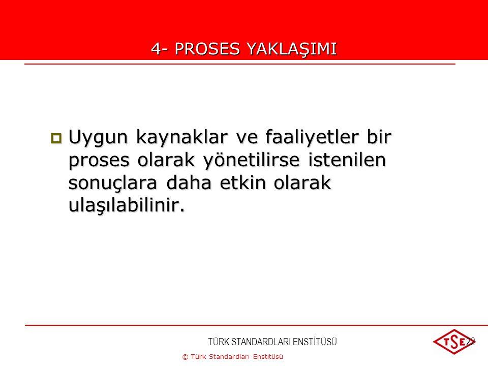 © Türk Standardları Enstitüsü TÜRK STANDARDLARI ENSTİTÜSÜ22 4-PROSES YAKLAŞIMI  Uygun kaynaklar ve faaliyetler bir proses olarak yönetilirse istenile