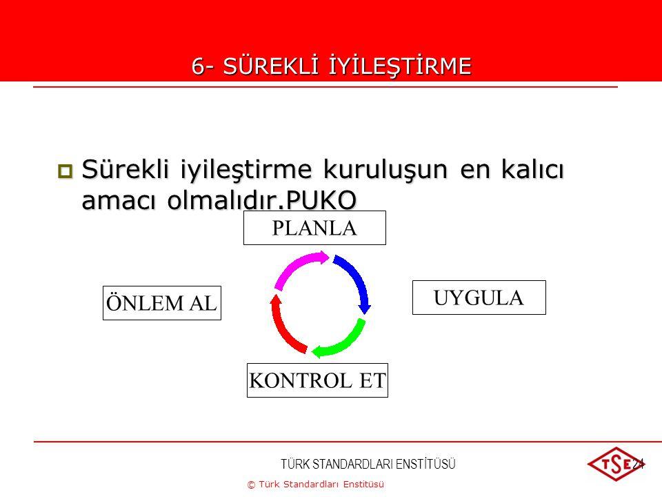 © Türk Standardları Enstitüsü TÜRK STANDARDLARI ENSTİTÜSÜ24 6-SÜREKLİ İYİLEŞTİRME  Sürekli iyileştirme kuruluşun en kalıcı amacı olmalıdır.PUKO PLANL