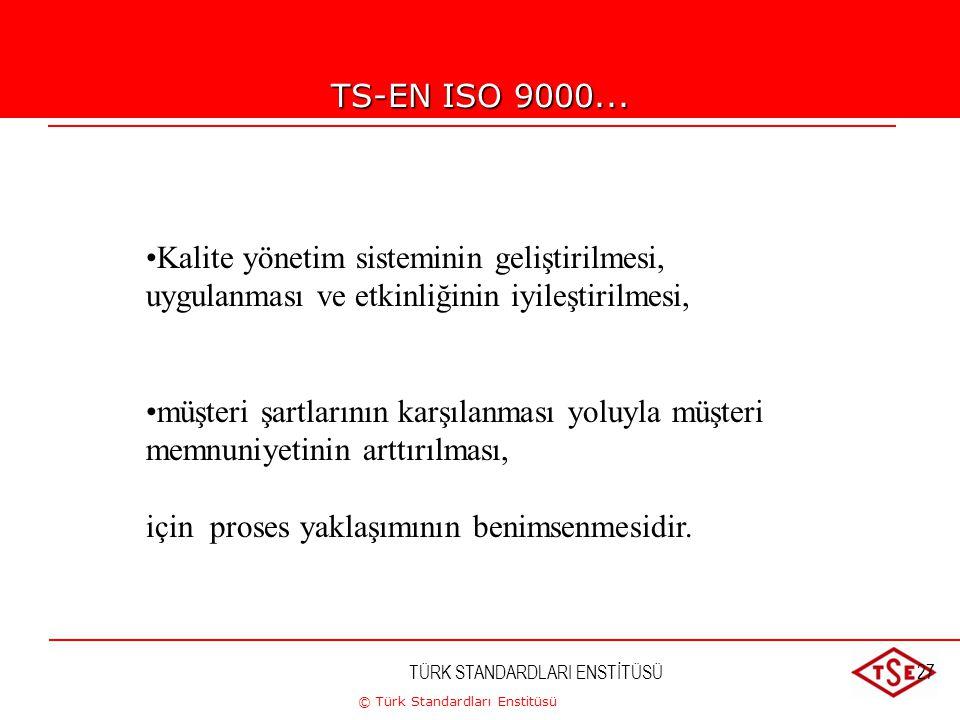 © Türk Standardları Enstitüsü TÜRK STANDARDLARI ENSTİTÜSÜ27 TS-EN ISO 9000... Kalite yönetim sisteminin geliştirilmesi, uygulanması ve etkinliğinin iy