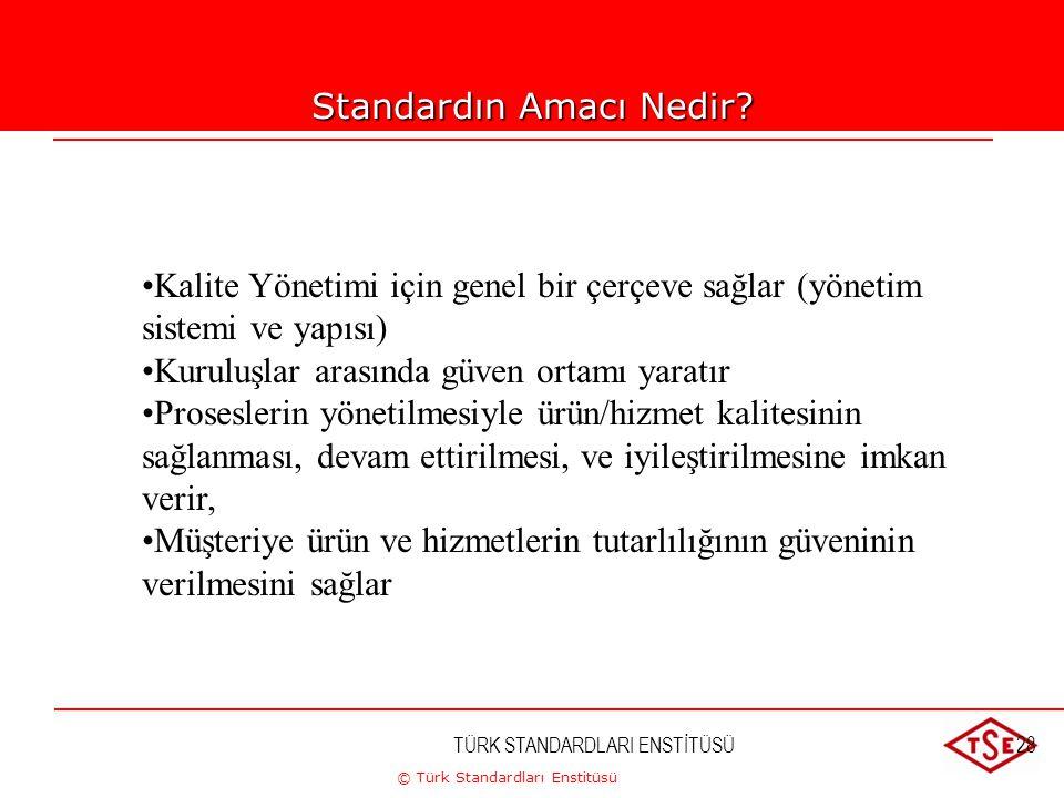 © Türk Standardları Enstitüsü TÜRK STANDARDLARI ENSTİTÜSÜ28 Standardın Amacı Nedir? Kalite Yönetimi için genel bir çerçeve sağlar (yönetim sistemi ve