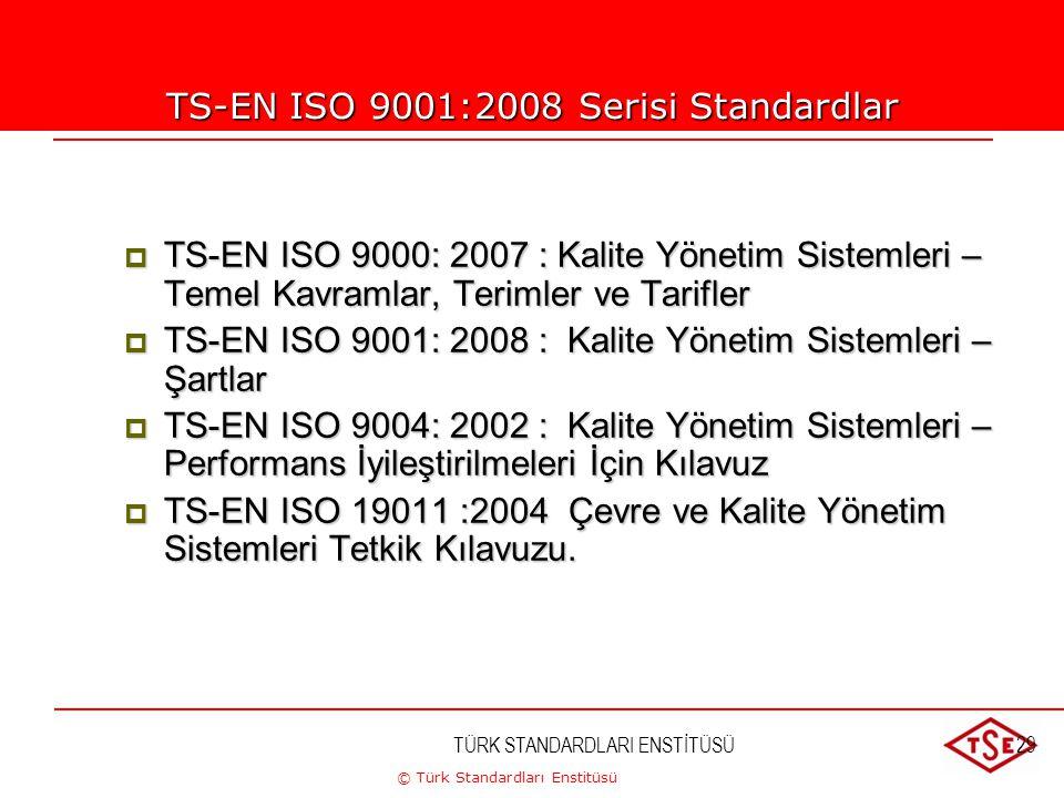 © Türk Standardları Enstitüsü TÜRK STANDARDLARI ENSTİTÜSÜ29 TS-EN ISO 9001:2008 Serisi Standardlar  TS-EN ISO 9000: 2007 : Kalite Yönetim Sistemleri