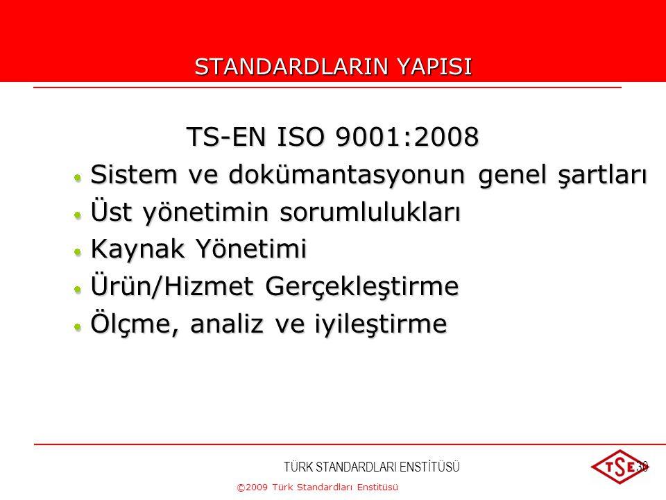 ©2009 Türk Standardları Enstitüsü TÜRK STANDARDLARI ENSTİTÜSÜ30 STANDARDLARIN YAPISI TS-EN ISO 9001:2008  Sistem ve dokümantasyonun genel şartları 