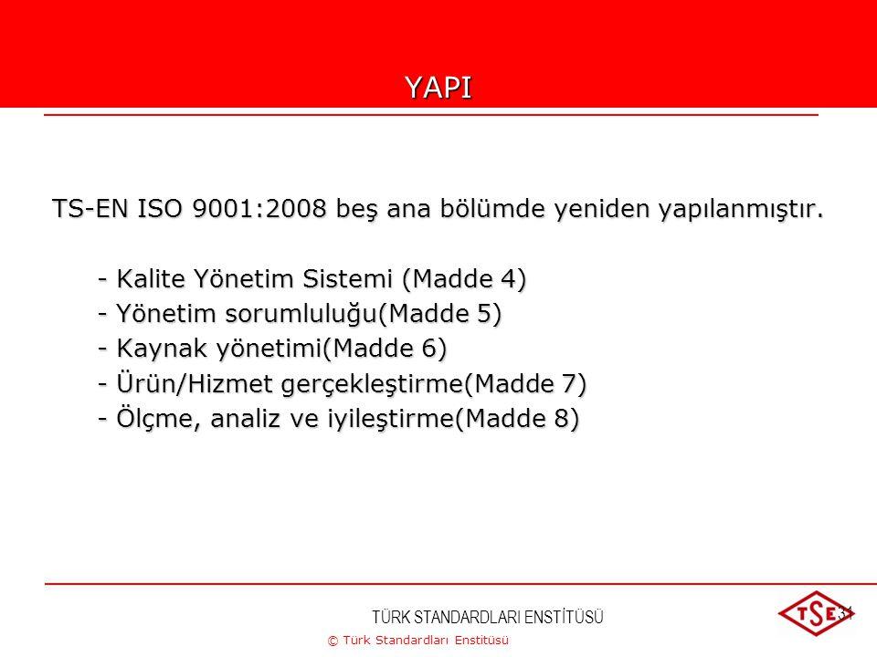 © Türk Standardları Enstitüsü TÜRK STANDARDLARI ENSTİTÜSÜ 31YAPI TS-EN ISO 9001:2008 beş ana bölümde yeniden yapılanmıştır. - Kalite Yönetim Sistemi (