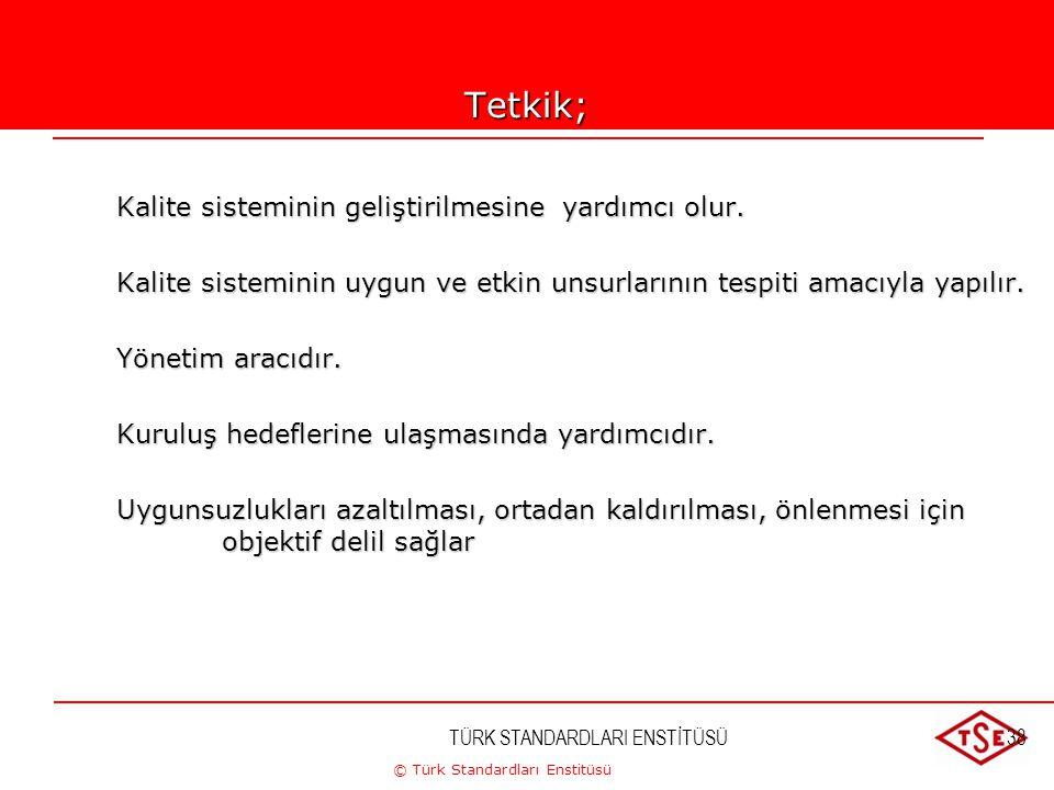 © Türk Standardları Enstitüsü TÜRK STANDARDLARI ENSTİTÜSÜ38Tetkik; Kalite sisteminin geliştirilmesine yardımcı olur. Kalite sisteminin uygun ve etkin