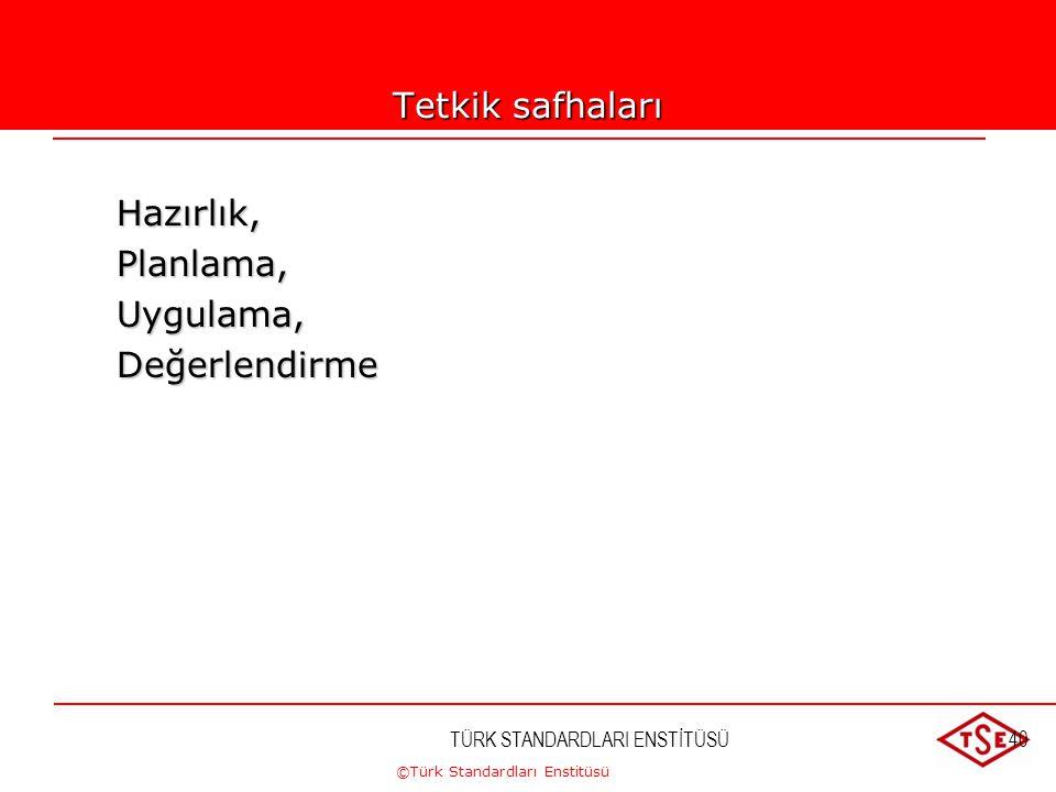 ©Türk Standardları Enstitüsü TÜRK STANDARDLARI ENSTİTÜSÜ40 Tetkik safhaları Hazırlık,Planlama,Uygulama,Değerlendirme