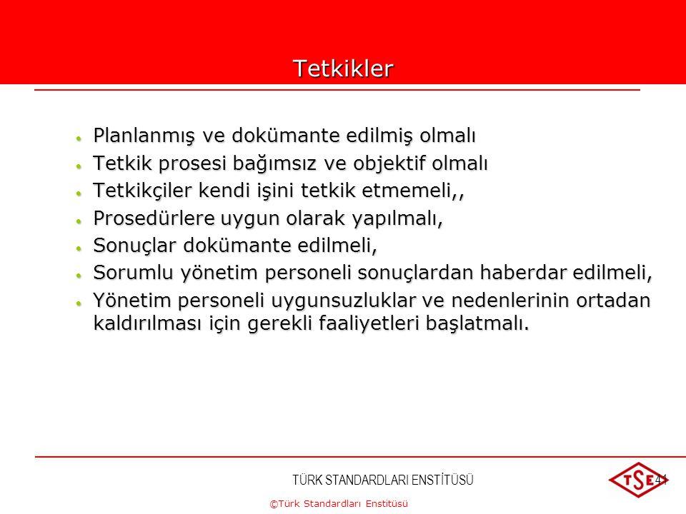 ©Türk Standardları Enstitüsü TÜRK STANDARDLARI ENSTİTÜSÜ41Tetkikler  Planlanmış ve dokümante edilmiş olmalı  Tetkik prosesi bağımsız ve objektif olm