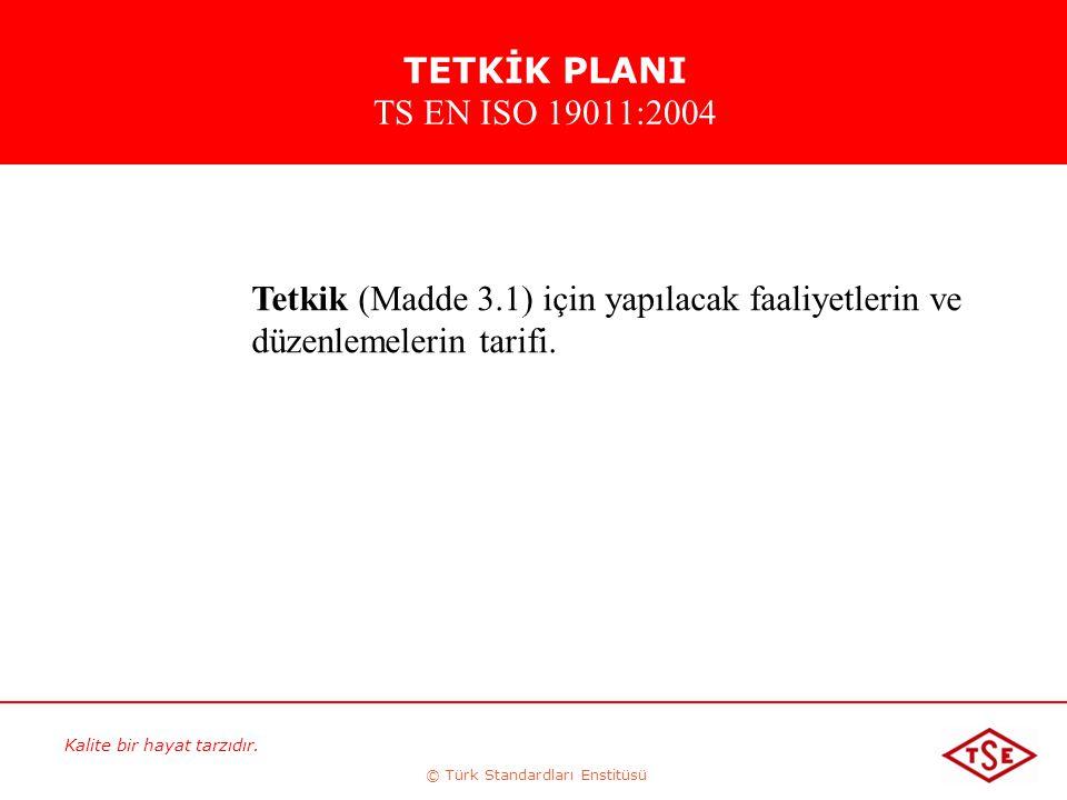 Kalite bir hayat tarzıdır. © Türk Standardları Enstitüsü Tetkik (Madde 3.1) için yapılacak faaliyetlerin ve düzenlemelerin tarifi. TETKİK PLANI TS EN