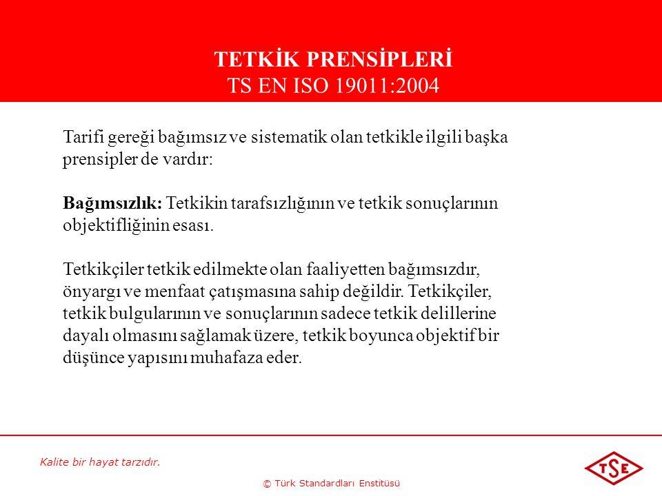 Kalite bir hayat tarzıdır. © Türk Standardları Enstitüsü Tarifi gereği bağımsız ve sistematik olan tetkikle ilgili başka prensipler de vardır: Bağımsı