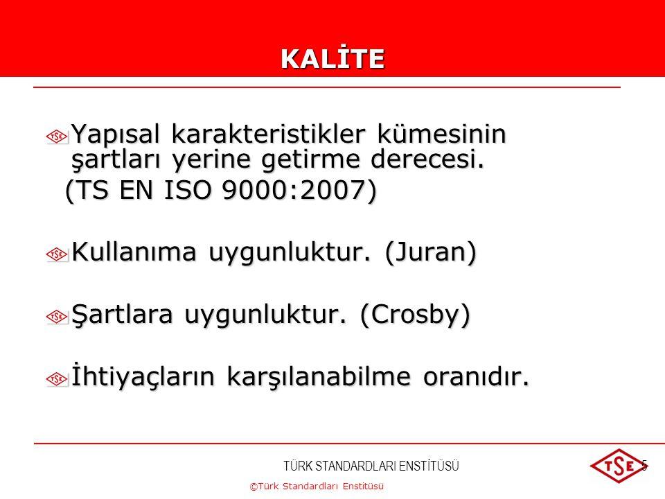 ©Türk Standardları Enstitüsü TÜRK STANDARDLARI ENSTİTÜSÜ5KALİTE Yapısal karakteristikler kümesinin şartları yerine getirme derecesi. (TS EN ISO 9000:2