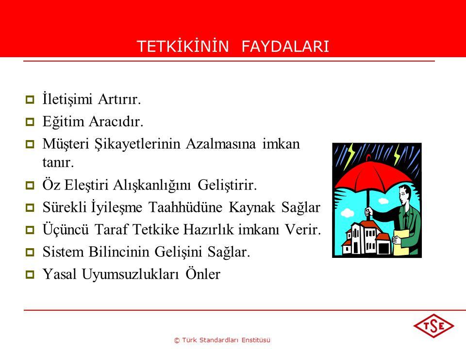 © Türk Standardları Enstitüsü TETKİKİNİN FAYDALARI  İletişimi Artırır.  Eğitim Aracıdır.  Müşteri Şikayetlerinin Azalmasına imkan tanır.  Öz Eleşt