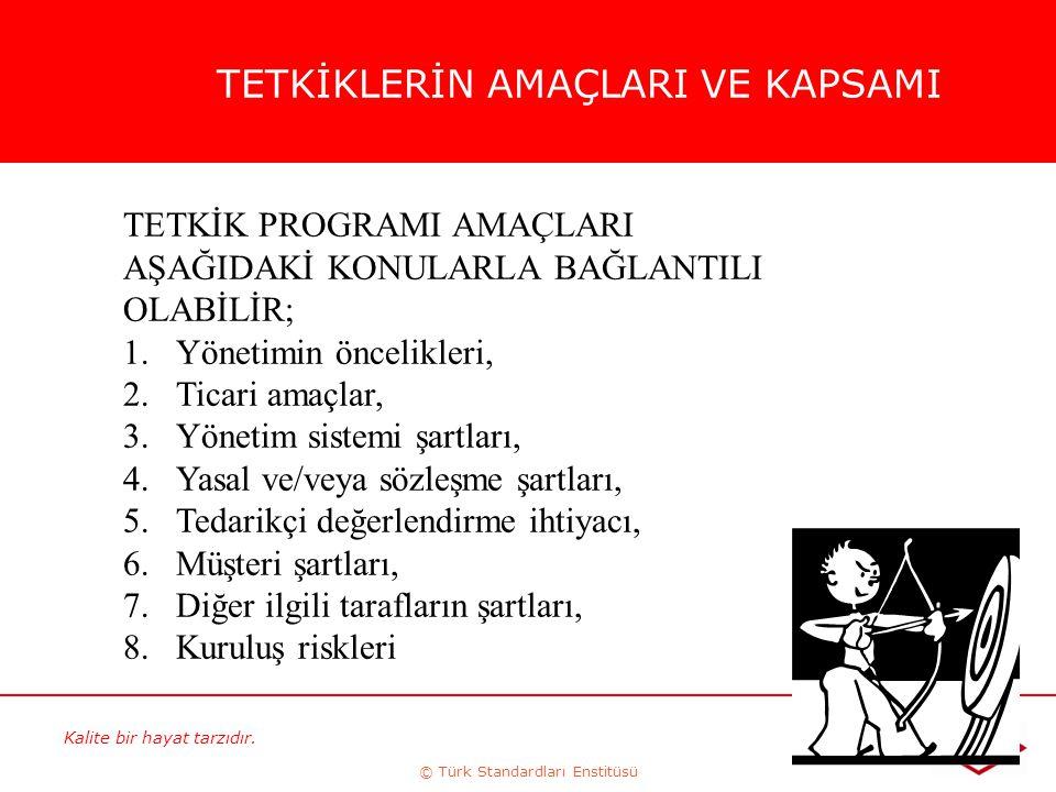 Kalite bir hayat tarzıdır. © Türk Standardları Enstitüsü 53 TETKİKLERİN AMAÇLARI VE KAPSAMI TETKİK PROGRAMI AMAÇLARI AŞAĞIDAKİ KONULARLA BAĞLANTILI OL