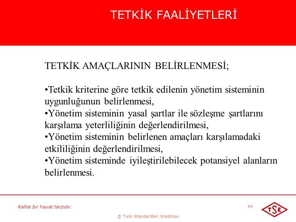 Kalite bir hayat tarzıdır. © Türk Standardları Enstitüsü 54 TETKİK FAALİYETLERİ TETKİK AMAÇLARININ BELİRLENMESİ; Tetkik kriterine göre tetkik edilenin