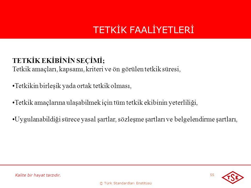 Kalite bir hayat tarzıdır. © Türk Standardları Enstitüsü 55 TETKİK FAALİYETLERİ TETKİK EKİBİNİN SEÇİMİ; Tetkik amaçları, kapsamı, kriteri ve ön görüle