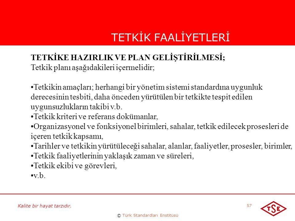 Kalite bir hayat tarzıdır. © Türk Standardları Enstitüsü 57 TETKİK FAALİYETLERİ TETKİKE HAZIRLIK VE PLAN GELİŞTİRİLMESİ; Tetkik planı aşağıdakileri iç