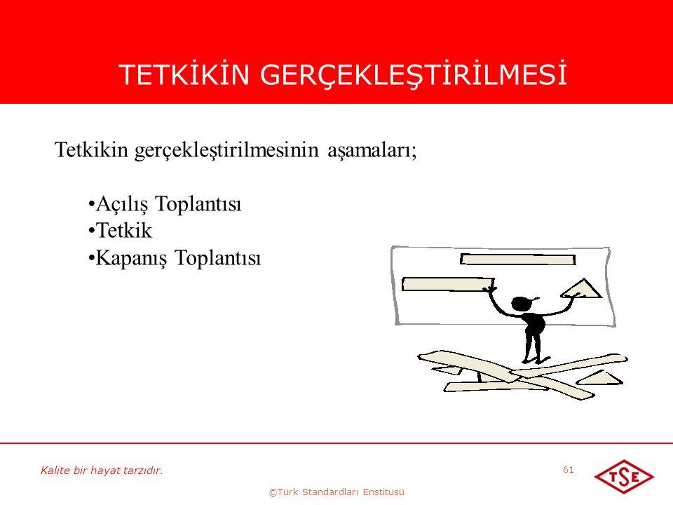 Kalite bir hayat tarzıdır. ©Türk Standardları Enstitüsü 61 TETKİKİN GERÇEKLEŞTİRİLMESİ Tetkikin gerçekleştirilmesinin aşamaları; Açılış Toplantısı Tet