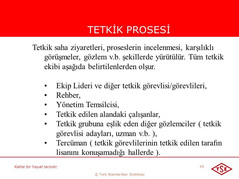 Kalite bir hayat tarzıdır. © Türk Standardları Enstitüsü 65 TETKİK PROSESİ Tetkik saha ziyaretleri, proseslerin incelenmesi, karşılıklı görüşmeler, gö