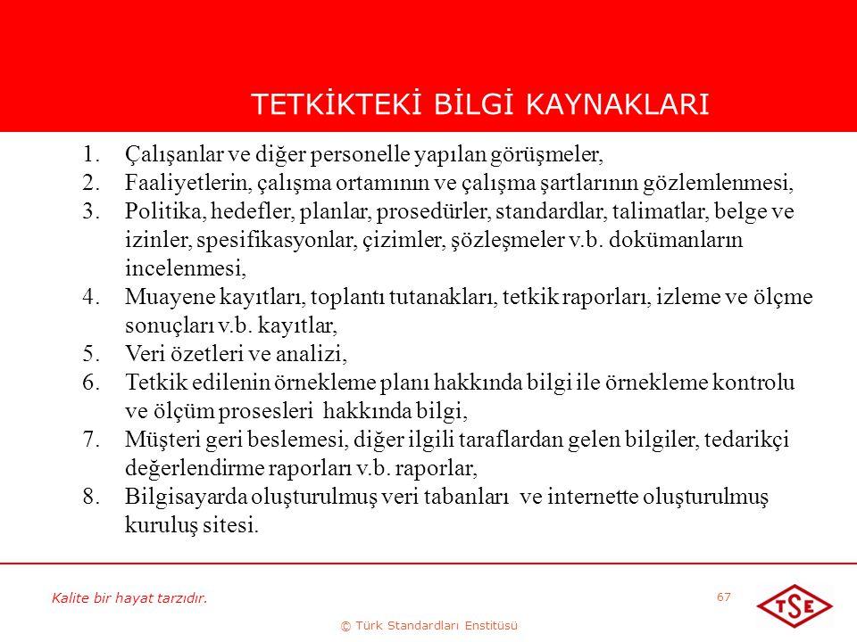 Kalite bir hayat tarzıdır. © Türk Standardları Enstitüsü 67 TETKİKTEKİ BİLGİ KAYNAKLARI 1.Çalışanlar ve diğer personelle yapılan görüşmeler, 2.Faaliye