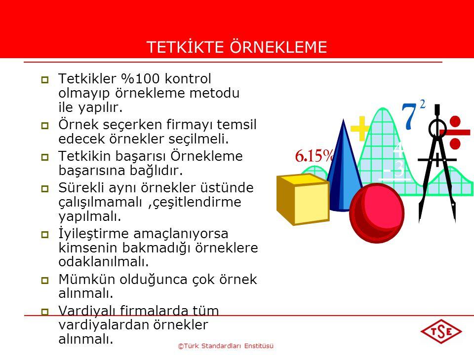 ©Türk Standardları Enstitüsü TETKİKTE ÖRNEKLEME  Tetkikler %100 kontrol olmayıp örnekleme metodu ile yapılır.  Örnek seçerken firmayı temsil edecek