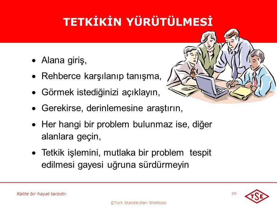 Kalite bir hayat tarzıdır. ©Türk Standardları Enstitüsü 69 TETKİKİN YÜRÜTÜLMESİ  Alana giriş,  Rehberce karşılanıp tanışma,  Görmek istediğinizi aç