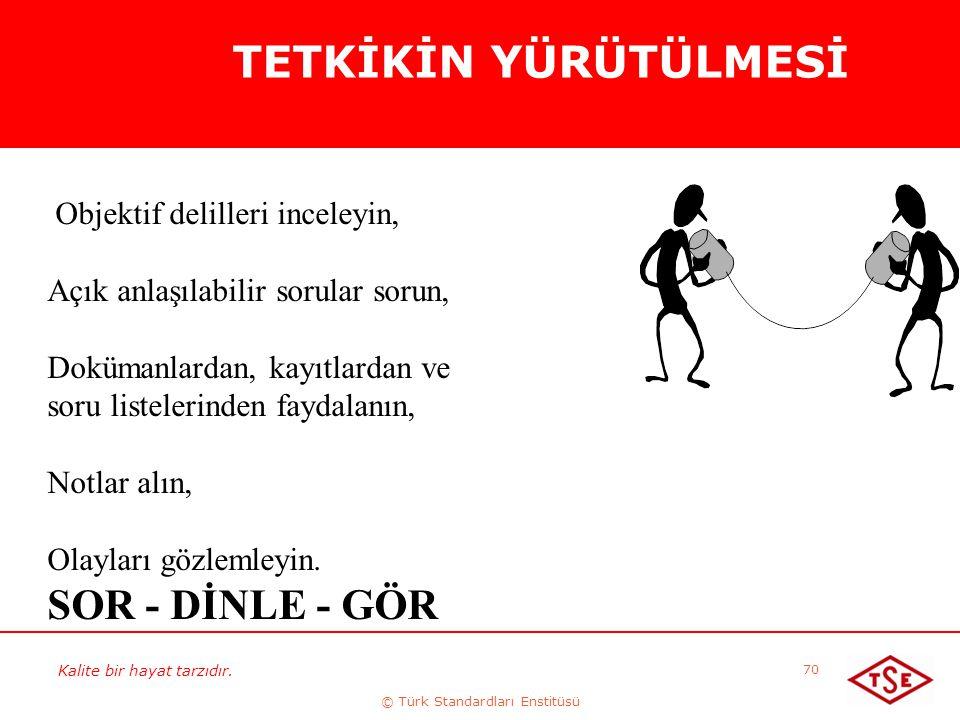 Kalite bir hayat tarzıdır. © Türk Standardları Enstitüsü 70 Objektif delilleri inceleyin, Açık anlaşılabilir sorular sorun, Dokümanlardan, kayıtlardan