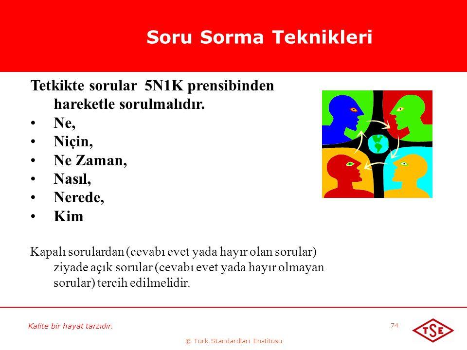 Kalite bir hayat tarzıdır. © Türk Standardları Enstitüsü 74 Soru Sorma Teknikleri Tetkikte sorular 5N1K prensibinden hareketle sorulmalıdır. Ne, Niçin
