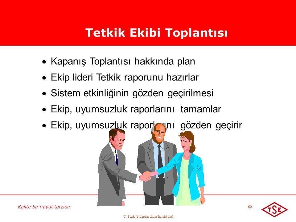 Kalite bir hayat tarzıdır. © Türk Standardları Enstitüsü 83 Tetkik Ekibi Toplantısı  Kapanış Toplantısı hakkında plan  Ekip lideri Tetkik raporunu h