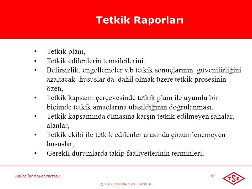 Kalite bir hayat tarzıdır. © Türk Standardları Enstitüsü 87 Tetkik Raporları Tetkik planı, Tetkik edilenlerin temsilcilerini, Belirsizlik, engellemele