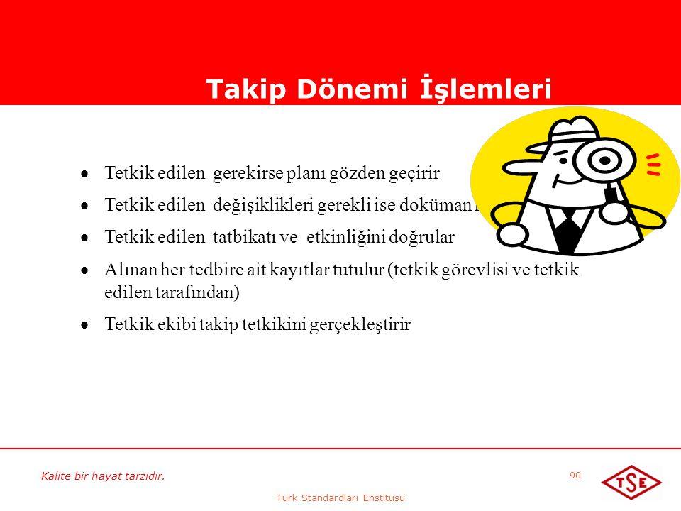 Kalite bir hayat tarzıdır. Türk Standardları Enstitüsü 90 Takip Dönemi İşlemleri  Tetkik edilen gerekirse planı gözden geçirir  Tetkik edilen değişi