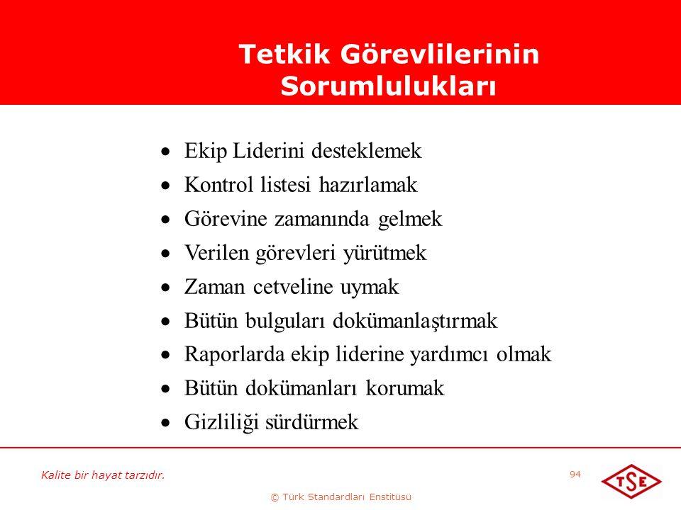Kalite bir hayat tarzıdır. © Türk Standardları Enstitüsü 94 Tetkik Görevlilerinin Sorumlulukları  Ekip Liderini desteklemek  Kontrol listesi hazırla