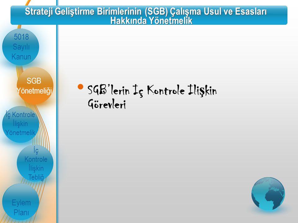 Strateji Geliştirme Birimlerinin (SGB) Çalışma Usul ve Esasları Hakkında Yönetmelik 5018 Sayılı Kanun İç Kontrole İlişkin Yönetmelik İç Kontrole İlişkin Tebliğ Eylem Planı SGB Yönetmeliği SGB'lerin Iç Kontrole Ili ş kin Görevleri