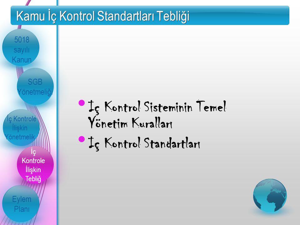 Kamu İç Kontrol Standartları Tebliği 5018 sayılı Kanun SGB Yönetmeliği İç Kontrole İlişkin Yönetmelik İç Kontrole İlişkin Tebliğ Eylem Planı Iç Kontrol Sisteminin Temel Yönetim Kuralları Iç Kontrol Standartları