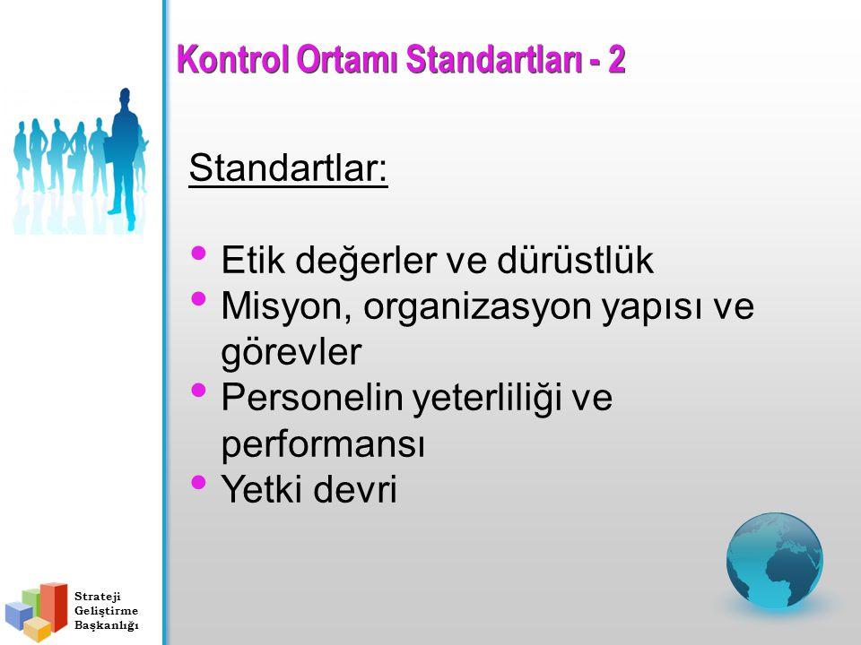 Standartlar: Etik değerler ve dürüstlük Misyon, organizasyon yapısı ve görevler Personelin yeterliliği ve performansı Yetki devri Strateji Geliştirme Başkanlığı Kontrol Ortamı Standartları - 2