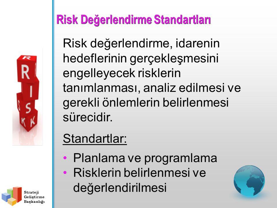 Risk değerlendirme, idarenin hedeflerinin gerçekleşmesini engelleyecek risklerin tanımlanması, analiz edilmesi ve gerekli önlemlerin belirlenmesi süre