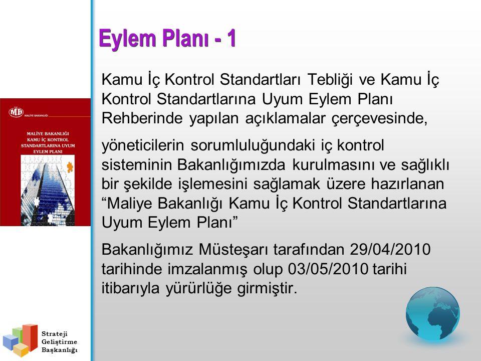 Kamu İç Kontrol Standartları Tebliği ve Kamu İç Kontrol Standartlarına Uyum Eylem Planı Rehberinde yapılan açıklamalar çerçevesinde, yöneticilerin sorumluluğundaki iç kontrol sisteminin Bakanlığımızda kurulmasını ve sağlıklı bir şekilde işlemesini sağlamak üzere hazırlanan Maliye Bakanlığı Kamu İç Kontrol Standartlarına Uyum Eylem Planı Bakanlığımız Müsteşarı tarafından 29/04/2010 tarihinde imzalanmış olup 03/05/2010 tarihi itibarıyla yürürlüğe girmiştir.