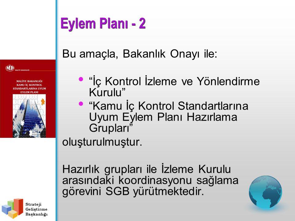 Bu amaçla, Bakanlık Onayı ile: İç Kontrol İzleme ve Yönlendirme Kurulu Kamu İç Kontrol Standartlarına Uyum Eylem Planı Hazırlama Grupları oluşturulmuştur.