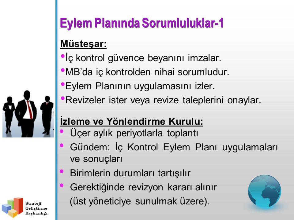 Eylem Planında Sorumluluklar-1 Müsteşar: İç kontrol güvence beyanını imzalar. MB'da iç kontrolden nihai sorumludur. Eylem Planının uygulamasını izler.